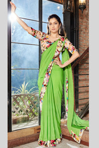 Bhelpuri Green Georgette Saree with Printed Blouse Piece