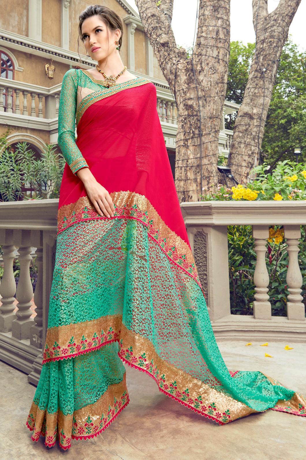 Bhelpuri Pink and Aqua Chiffon Russell Net Embroidered Saree with Blouse Piece