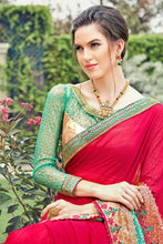 Load image into Gallery viewer, Bhelpuri Pink and Aqua Chiffon Russell Net Embroidered Saree with Blouse Piece