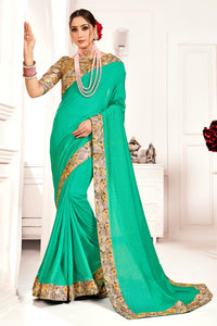 Bhelpuri Green Poly Silk Stone work and Printed Saree with Blouse Piece