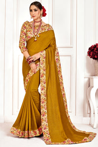 Bhelpuri Olive Poly Silk Stone work and Printed Saree with Blouse Piece