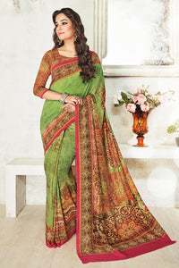 Bhelpuri Green Art Silk Printed Saree with Brown Blouse Piece