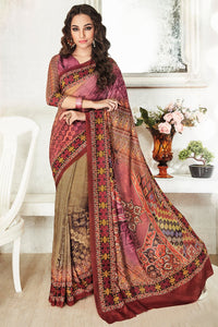 Bhelpuri Multi Color Art Silk Printed Saree with Multi Color Blouse Piece