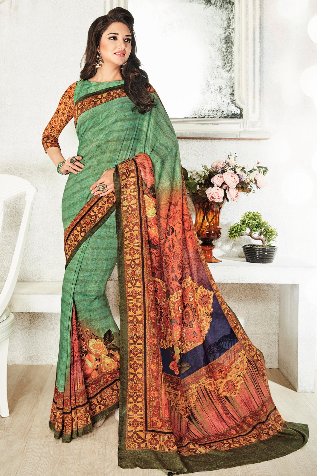 Bhelpuri Green Art Silk Printed Saree with Art Silk Blouse Piece
