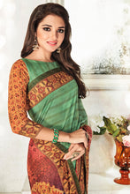 Load image into Gallery viewer, Bhelpuri Green Art Silk Printed Saree with Art Silk Blouse Piece