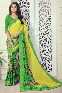 Bhelpuri Green and Yellow Georgette Printed Saree with Georgette Blouse Piece