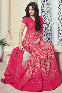 Bhelpuri Cream and Pink Georgette Printed Saree with Pink Blouse Piece