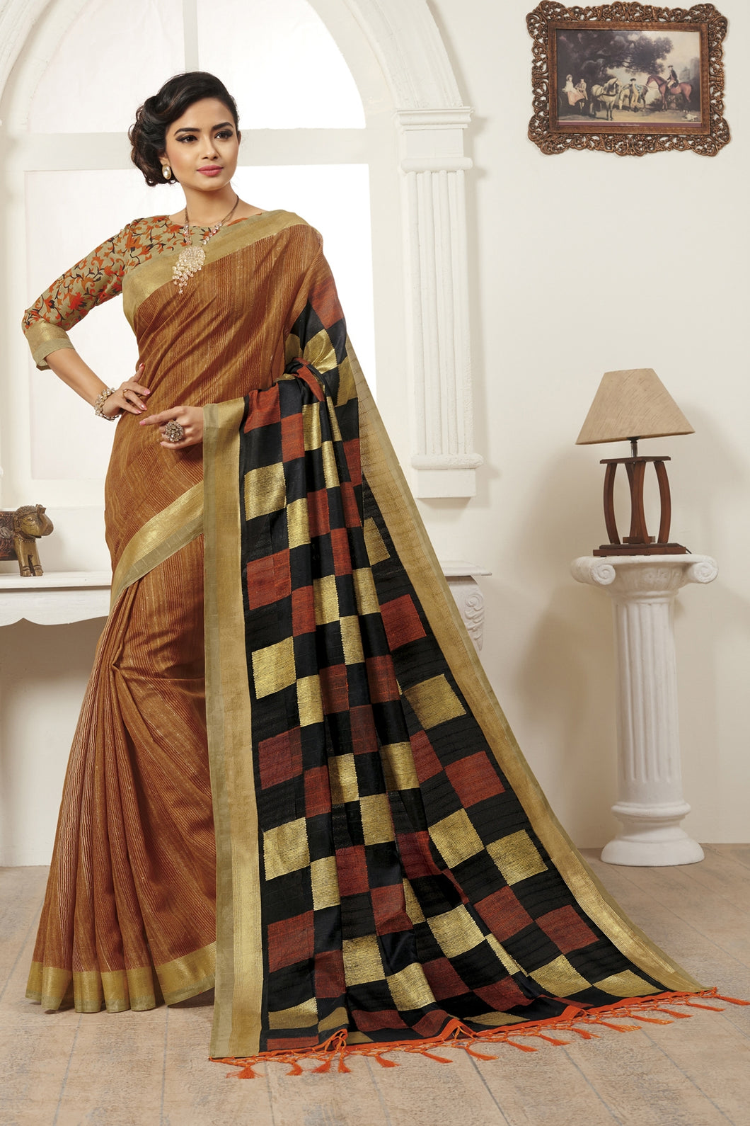 Bhelpuri Brown Bhagalpuri Silk Saree