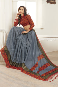 Bhelpuri Grey Bhagalpuri Silk Saree