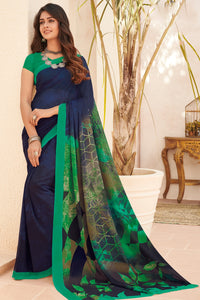 Bhelpuri Blue Georgette Printed Saree