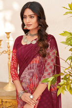 Load image into Gallery viewer, Bhelpuri Maroon Georgette Printed Saree