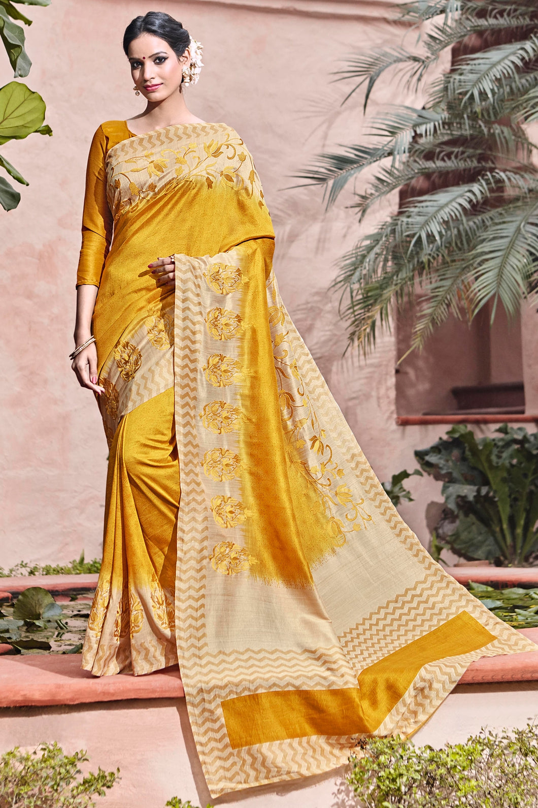 Bhelpuri Orange and Cream Art Silk Printed and Resham Embroidered Saree with Blouse Piece