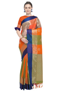 Bhelpuri Orange and Green Banarasi Katan Silk Woven Saree with Blouse Piece