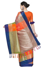 Load image into Gallery viewer, Bhelpuri Orange and Green Banarasi Katan Silk Woven Saree with Blouse Piece
