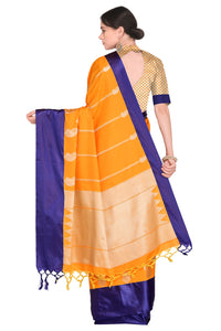 Bhelpuri Orange and Violet Banarasi Katan Silk Woven Saree with Blouse Piece