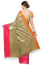 Load image into Gallery viewer, Bhelpuri Beige and Pink Banarasi Katan Silk Woven Saree with Blouse Piece