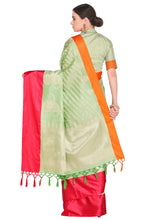 Load image into Gallery viewer, Bhelpuri Light Green and Red Banarasi Katan Silk Woven Saree with Blouse Piece