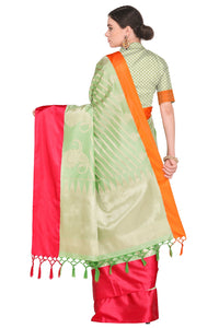 Bhelpuri Light Green and Red Banarasi Katan Silk Woven Saree with Blouse Piece