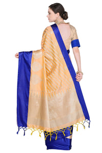 Bhelpuri Light Orange and Navy Blue Banarasi Katan Silk Woven Saree with Blouse Piece