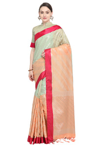 Bhelpuri Green and Peach Banarasi Katan Silk Woven Saree with Blouse Piece