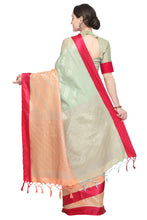 Load image into Gallery viewer, Bhelpuri Green and Peach Banarasi Katan Silk Woven Saree with Blouse Piece
