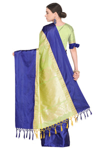 Bhelpuri Light Green Banarasi Katan Silk Woven Saree with Blouse Piece