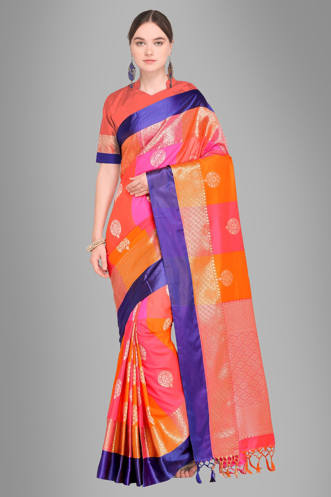 Bhelpuri Multicolour Banarasi Katan Silk Woven Saree with Blouse Piece