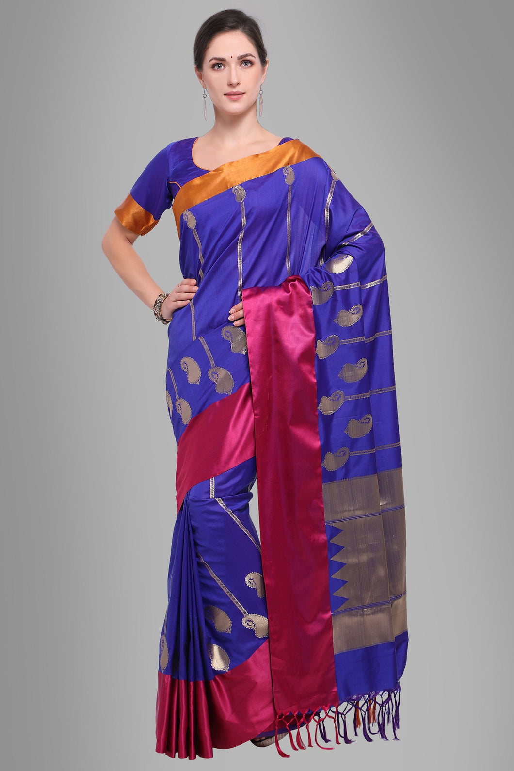 Bhelpuri Navy Blue Banarasi Katan Silk Woven Saree with Blouse Piece