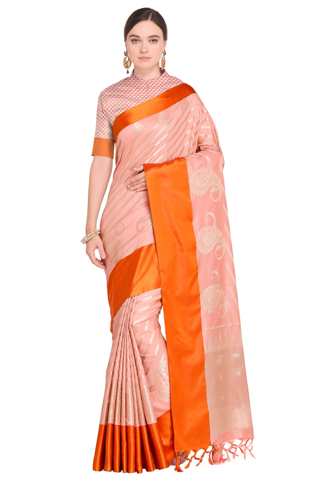 Bhelpuri Light Peach Banarasi Katan Silk Woven Saree with Blouse Piece