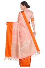 Load image into Gallery viewer, Bhelpuri Light Peach Banarasi Katan Silk Woven Saree with Blouse Piece