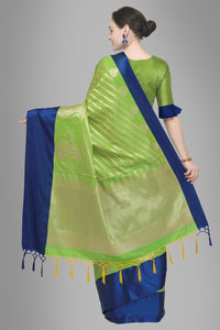 Bhelpuri Green Banarasi Katan Silk Woven Saree with Blouse Piece