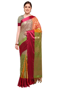 Bhelpuri Multi Colour Banarasi Katan Silk Woven Saree with Blouse Piece