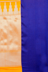 Bhelpuri Orange Banarasi Katan Silk Woven Saree with Blouse Piece