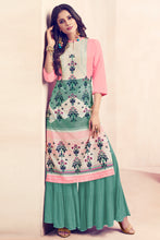 Load image into Gallery viewer, Admyrin Light Pink, Cream & Green Rayon Ready to Wear Kurti with Bottom