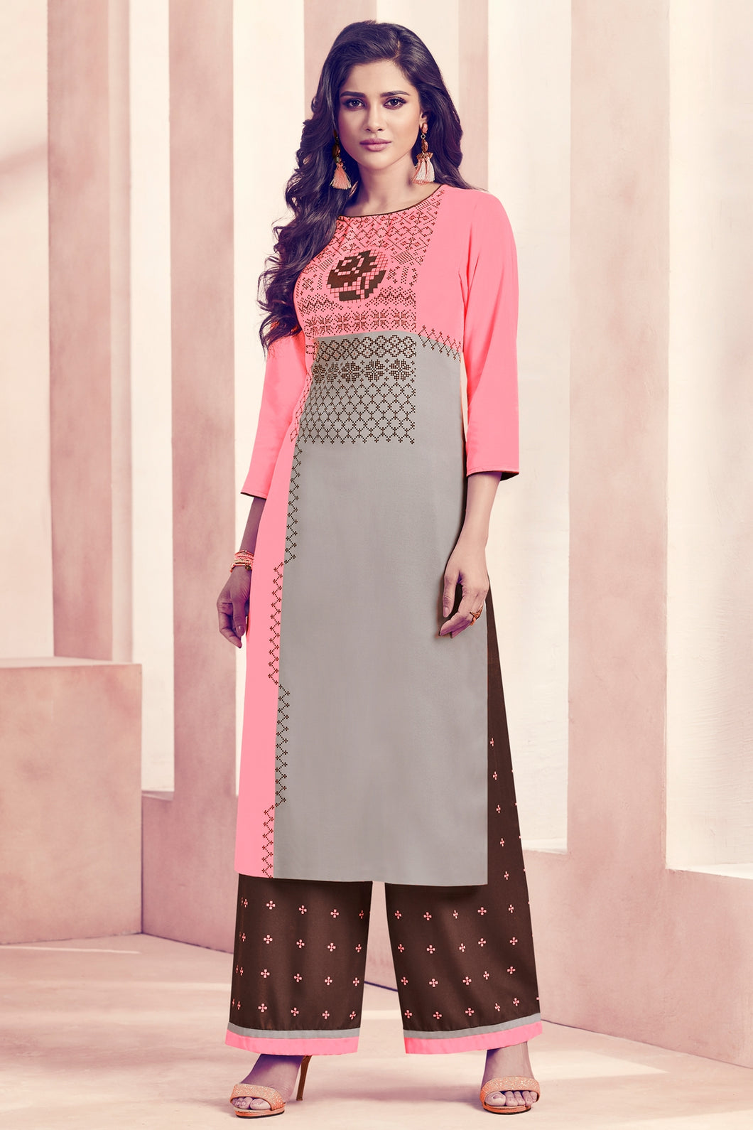 Admyrin Pink & Grey Rayon Ready to Wear Kurti with Bottom