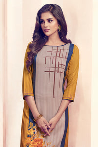 Admyrin Mustard & Chiku Colour Rayon Ready to Wear Kurti with Bottom