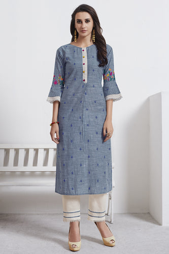 Admyrin Grey Cotton Kurta with Cream Bottom