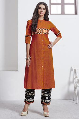 Admyrin Orange Cotton Kurta  with Black Bottom