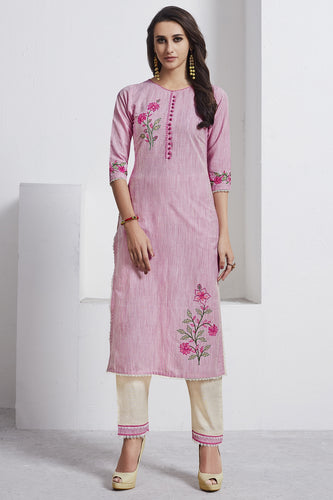 Admyrin Light Pink Cotton Kurta  with Cream Bottom