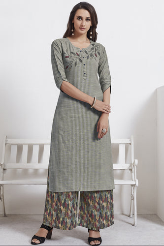 Admyrin Grey Cotton Kurta  with Multicolor Bottom