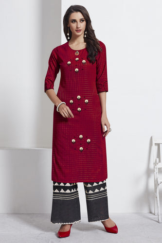 Admyrin Maroon Cotton Kurta  with Black Bottom