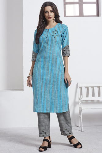 Admyrin Turquoise & Grey Cotton Kurta  with Grey Bottom