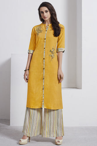 Admyrin Mustard Cotton Kurta  with Multicolor Bottom