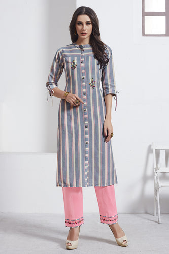 Admyrin Grey & Linght Pink Cotton Kurta  with Light Pink Bottom