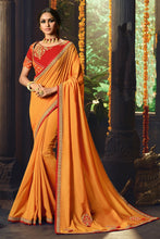 Load image into Gallery viewer, Bhelpuri Mustard Cotton Silk Embroidered Designer Saree with Blouse Piece