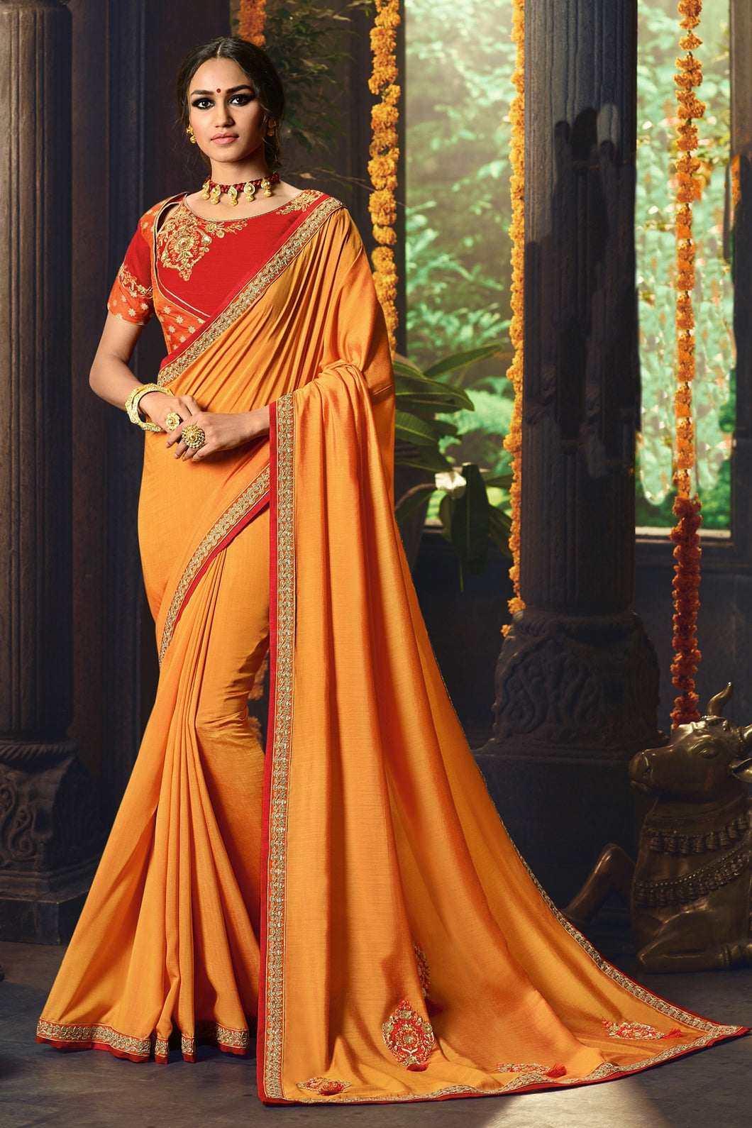 Bhelpuri Mustard Cotton Silk Embroidered Designer Saree with Blouse Piece