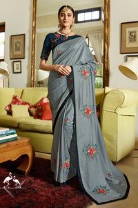 Bhelpuri Grey Silk Embroidered Designer Saree with Blouse Piece