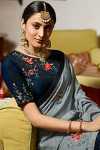 Load image into Gallery viewer, Bhelpuri Grey Silk Embroidered Designer Saree with Blouse Piece