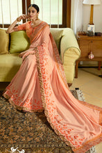 Load image into Gallery viewer, Bhelpuri Peach Satin Embroidered Designer Saree with Blouse Piece