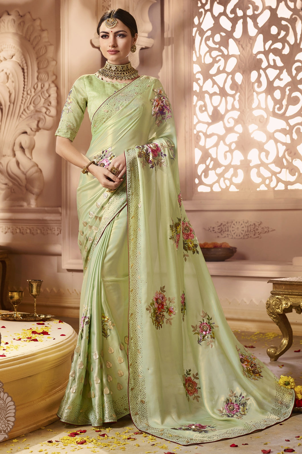 Bhelpuri Parrot Green Satin and Georgette Zari Embroidered Party Wear Saree with Embroidered Blouse Piece